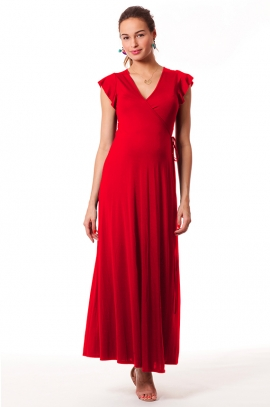 Red maternity and nursing dress - Nayeli