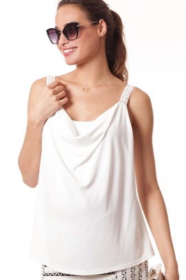 Elegant maternity and nursing top - White