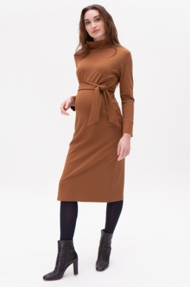 Maternity dress with belt - Tobaco