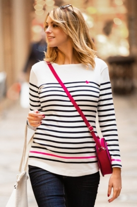 Striped maternity blouse with maritieme style