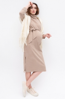 Maternity dress - Cream Pied de poule