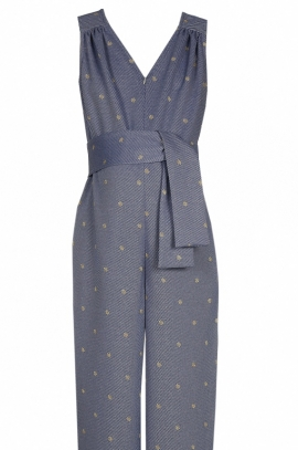 Stylish maternity and nursing jumpsuit with polka dots