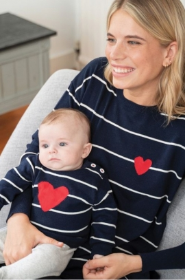 Striped Maternity and baby sweater