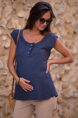 Maternity and nursing blouse with sequined belt