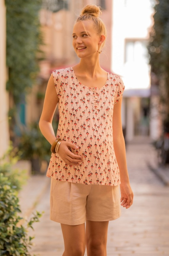 Maternity and nursing blouse with struisvogel motief