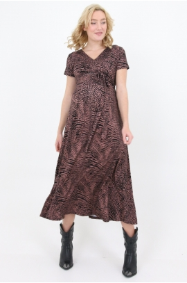 Long maternity and nursing dress with paintings