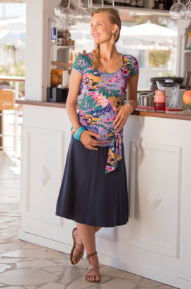 Navy maternity skirt with sequined belt