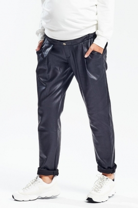 Black coated maternity trousers