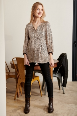 Leopard printed maternity and nursing blouse