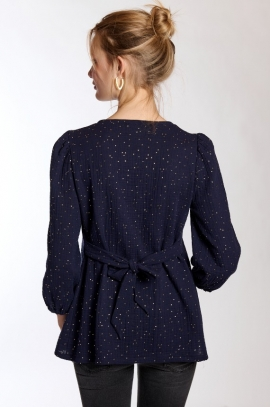 Gold dots maternity and nursing blouse