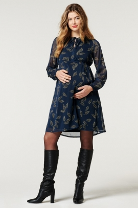 Maternity and nursing dress with leafs