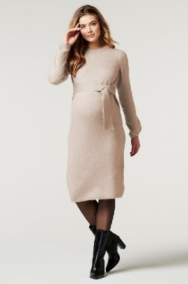 Oatmeal Maternity dress with integrated belt