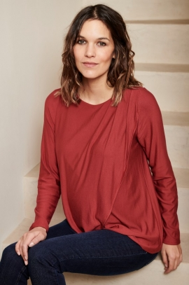 Draped hibiscus maternity and nursing blouse