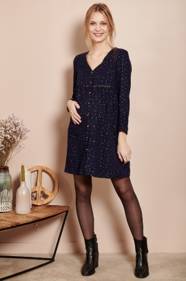 Maternity dress with gold polka dots