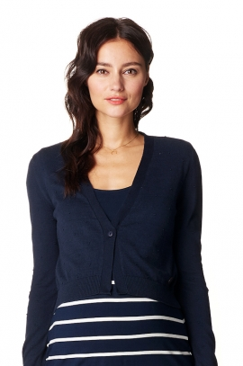 Navy mom-to-be bolero with small buttons