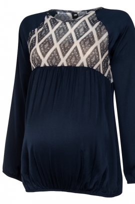 Navy Aztec maternity blouse
