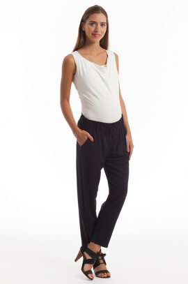 Black fluid maternity pants in polyester