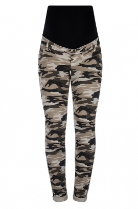 Khaki maternity pants of camouflage