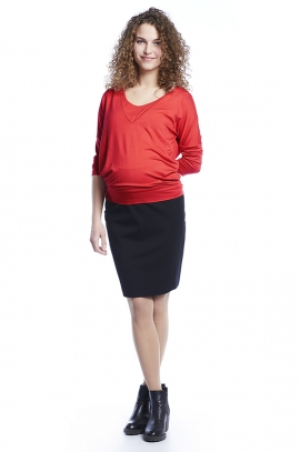 Spicy red maternity and nursing blouse in viscose