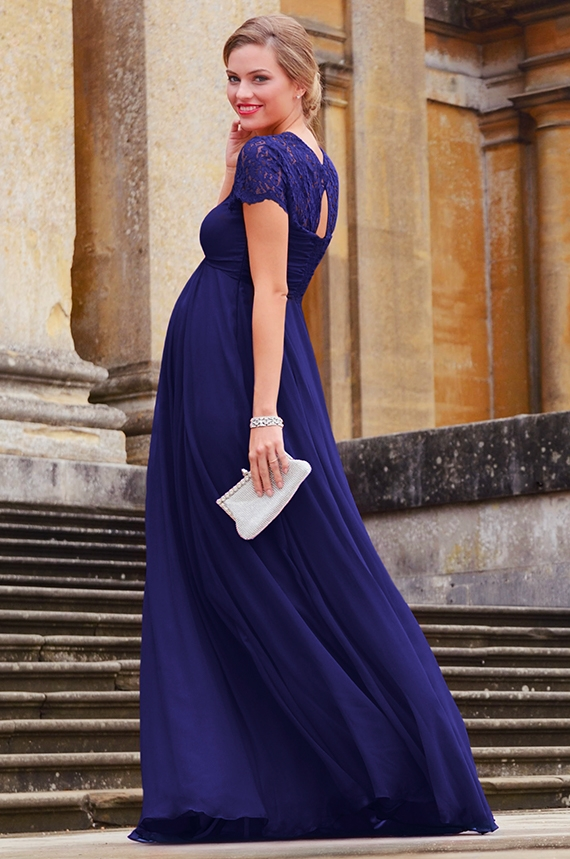 Long maternity dress in silk, elegant and stretchy, match to your ...
