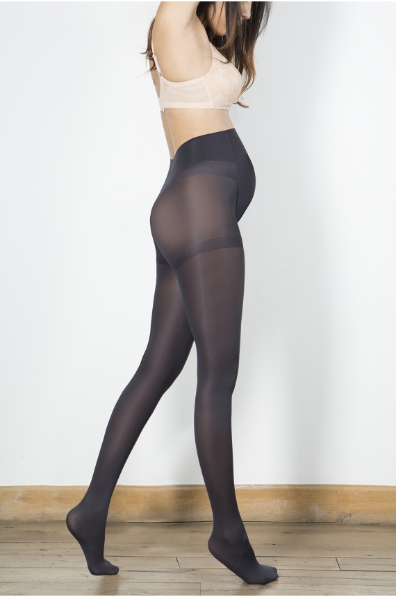 f050c47d55924 Opaque maternity grey tights 70 deniers that support your belly - brand  Cache Coeur