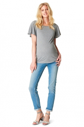 Grey maternity t-shirt with strass