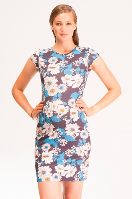 Blue flower maternity dress