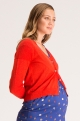 Red maternity cardigan
