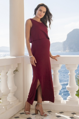 Burgundy long dress Maternity & Nursing