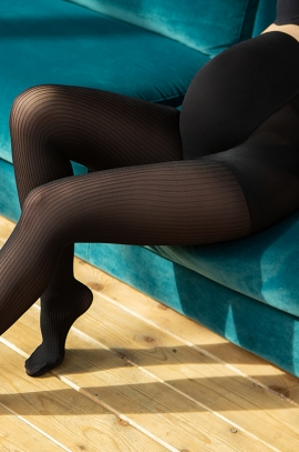 30 den pregnancy black tights ZIG ZAG