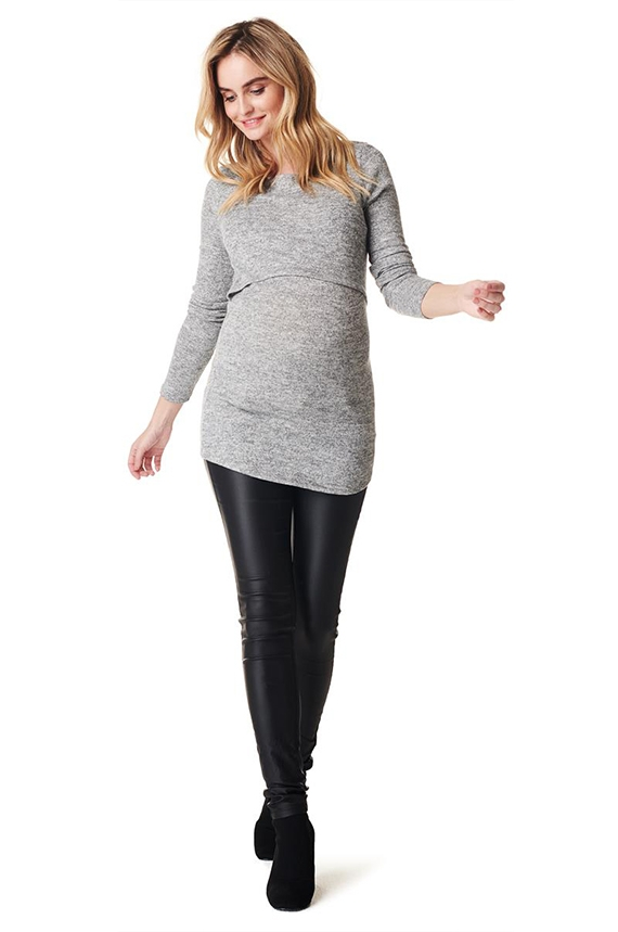 Grey maternity and nursing blouse