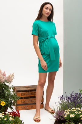 Green Maternity dress with integrated belt