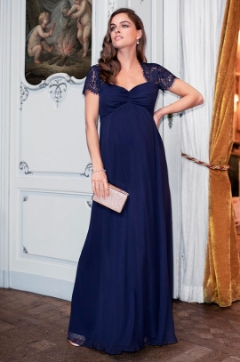 Navy Silk and Lace Maternity Evening Gown